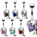 Dolphin Belly Bar With Heart Shaped Cubic Zirconia